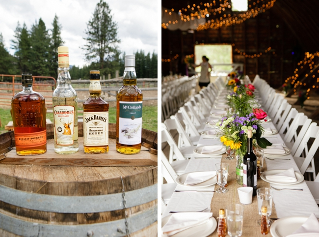 selection of whiskey and burlap table runners