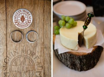 wedding rings and round of cheese