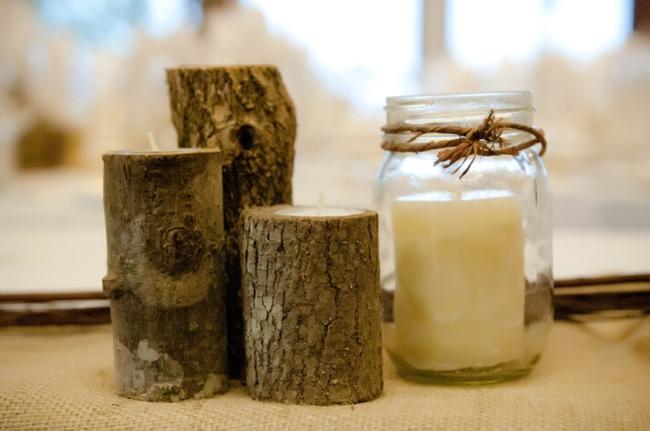 wooden candles and mason jar