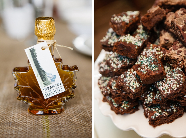 maple syrup favors and wedding brownies