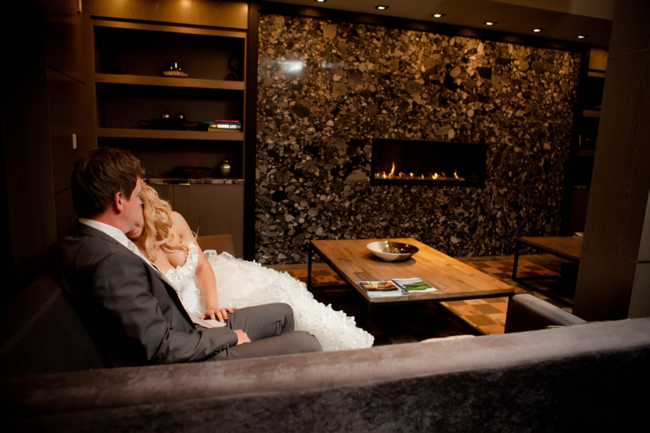 Canmore bride and groom at a rustic lodge