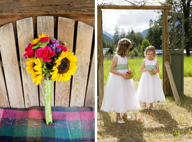 sunflower bouquet and flowers girls in white