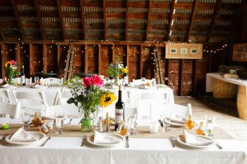 rustic tablescape with burlap runners