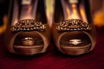 gold wedding shoes and diamond wedding band