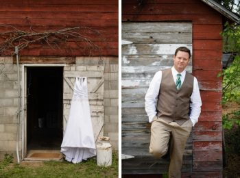 wedding gown hanging near stone doorway