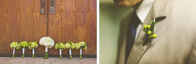 rustic green and white bouquets and boutonniere