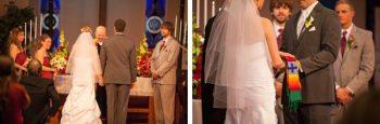 Alaska bride and groom have a catholic wedding ceremony