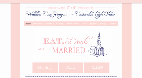 beautiful pinks and blue wedding website