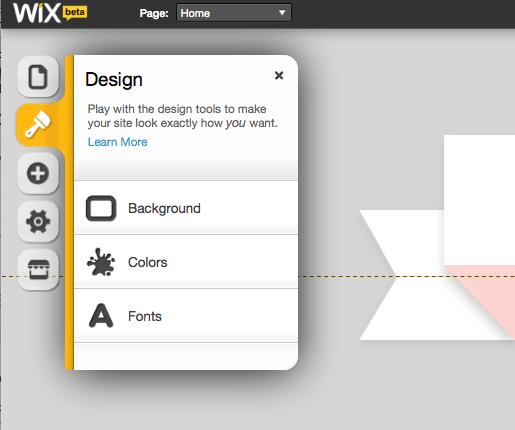Wix design tool bar
