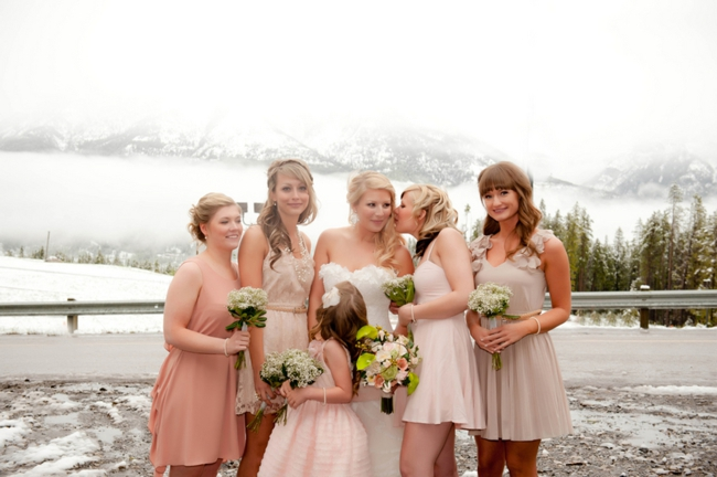 pink mix and match bridesmaids dresses