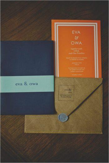 modern orange and navy wedding invitations