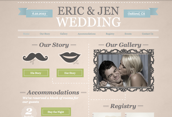 fun wedding website example from Wix