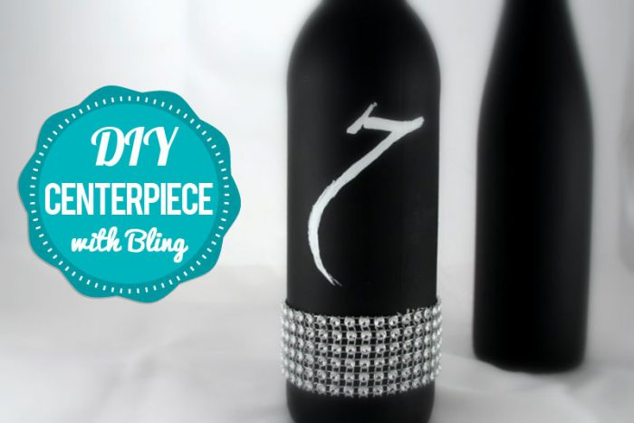 wine bottle chalkboard centerpiece