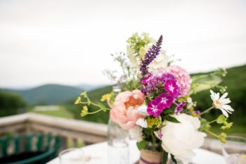 pink and white wild flower centerpiece