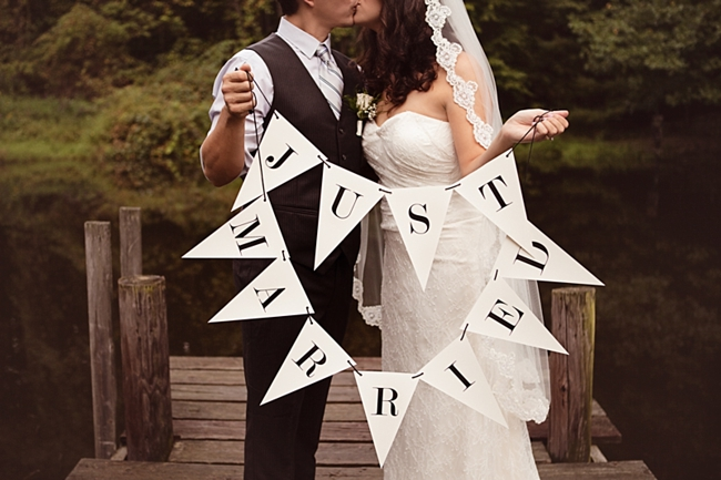 Just Married Flag Sign