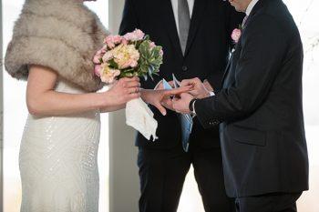 vermont winter wedding ring exchange