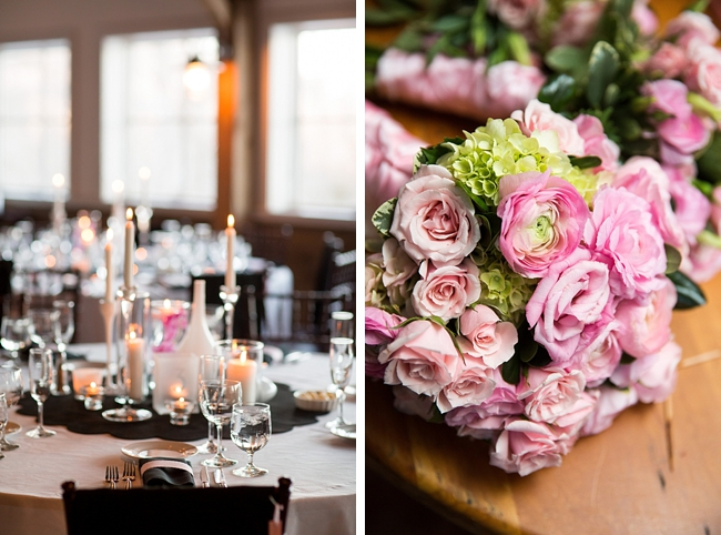 vermont blush and black wedding details and rose bouquet