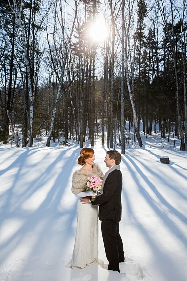 winter bride and groom in vermont