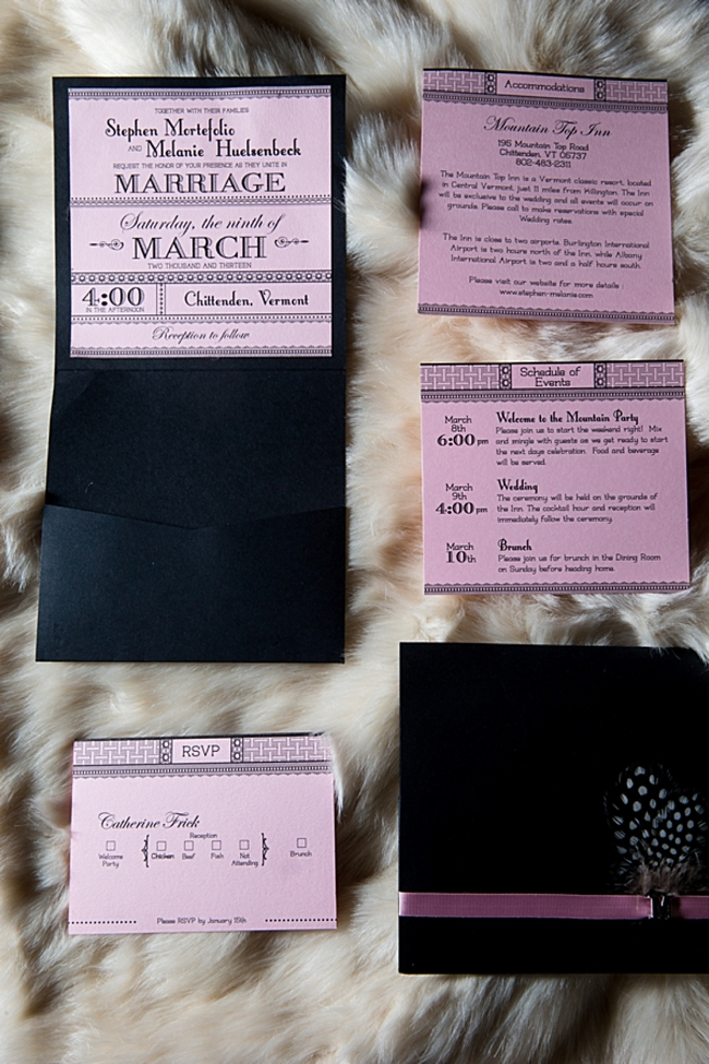 black and blush wedding invitation