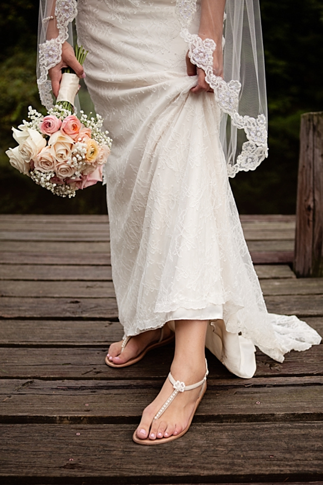 Lace gown and wedding sandals