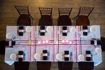 blush and black ribbon tablescape