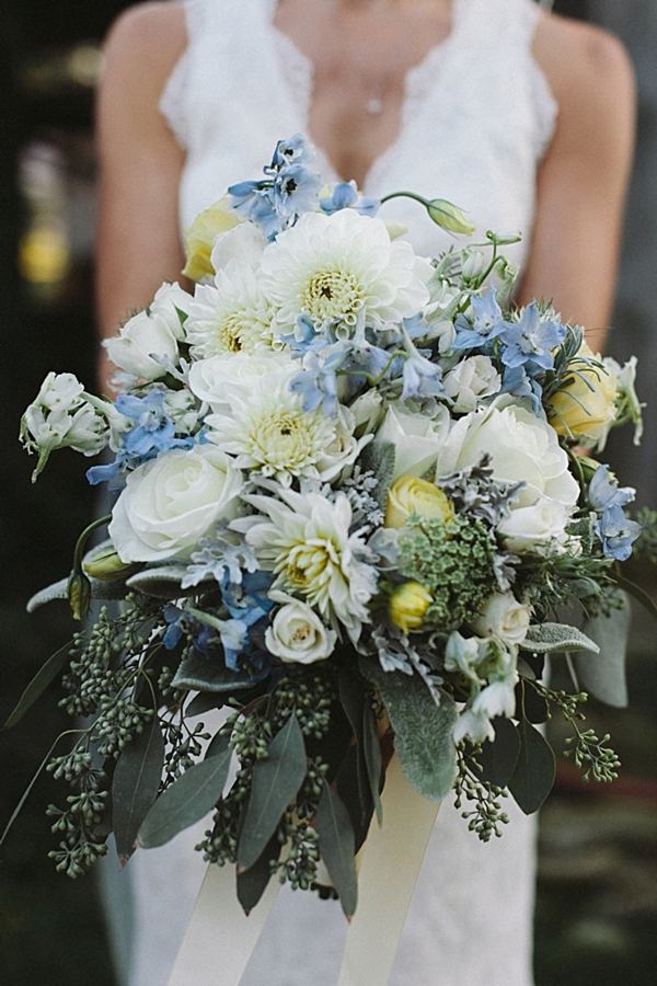 Gorgeous blue and white bouquet with lush greenery.