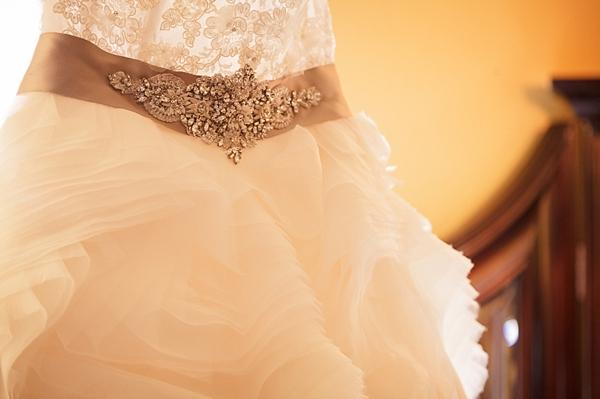 wedding gown with beaded belt via Gavin Farrington Photography
