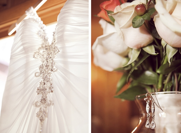 beaded wedding gown and rose bouquet
