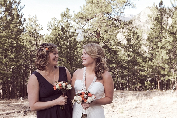 brown bridesmaid dress for a rustic mountain wedding