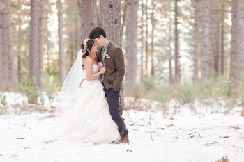 Winter bride and groom in a forest