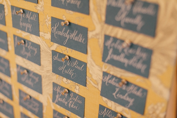 escort cards on pinboard