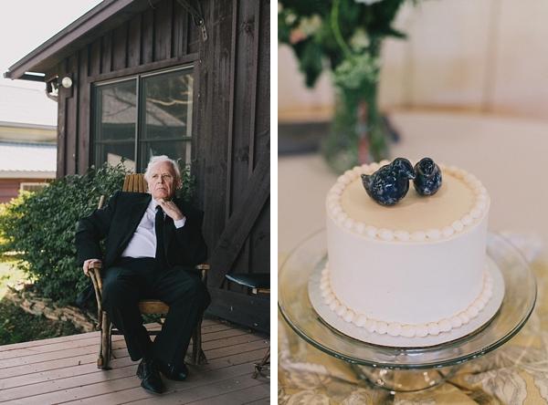 small rustic wedding cake black porcelain birds