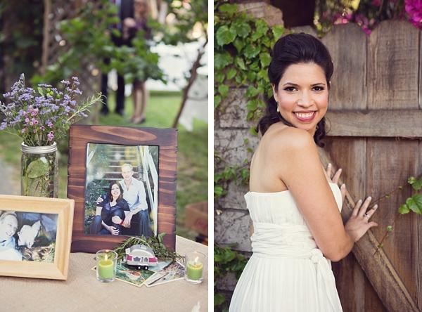 bride portrait and engagement picture table