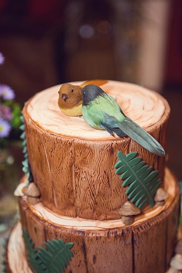 woodland wedding cake