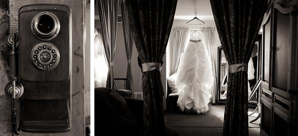 black and white image of gorgeous wedding gown via Gavin Farrington Photography