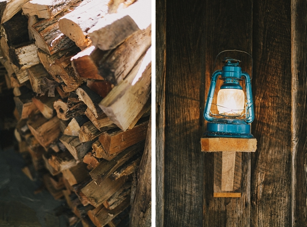 wood pile and blue vintage lantern