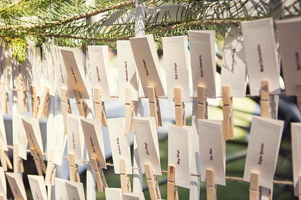 escort cards on a clothes line