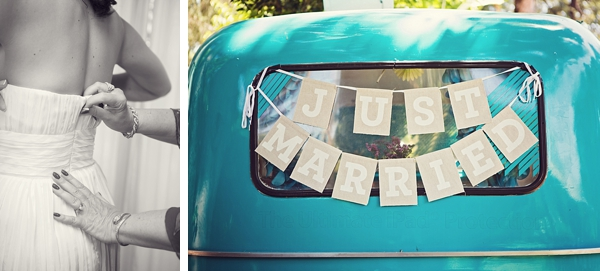 turquoise vintage truck for wedding getaway