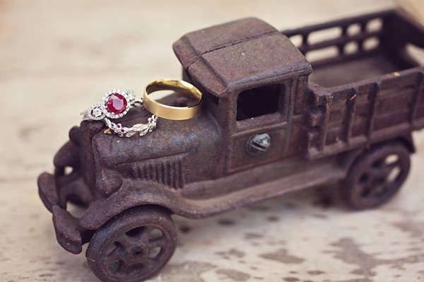 vintage toy truck and wedding rings