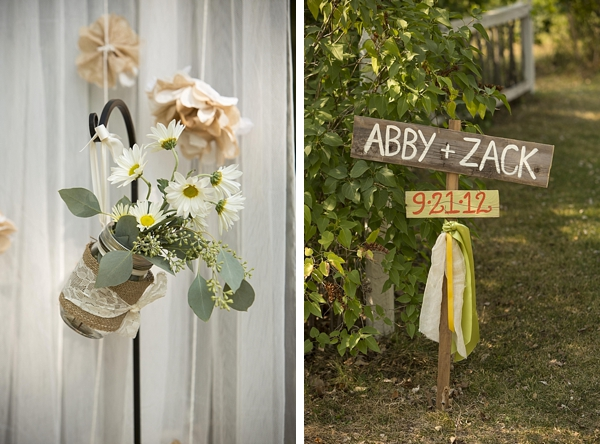 Wooden wedding sign and lace and burlap wrapped mason jars