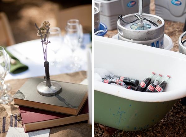 vintage biology books and antique bathtub drink cooler