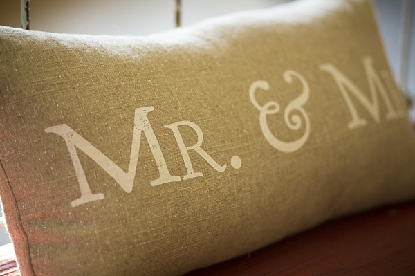 mr and mrs burlap pillow