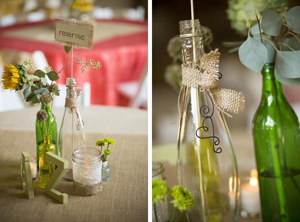 handmade bottle centerpieces