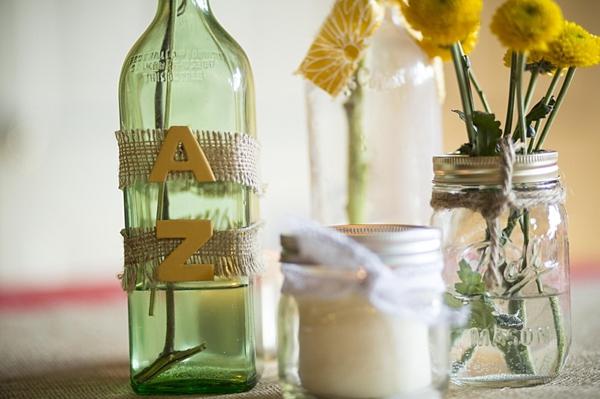 bottle and mason jar centerpieces