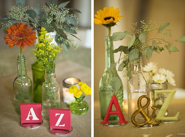 A-Z bottle centerpieces