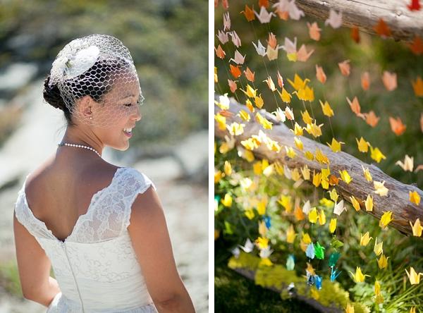 outdoor mountain bride and 1000 origami paper cranes