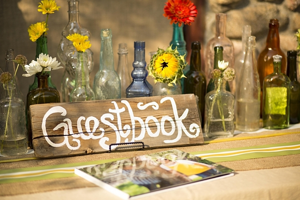 wooden sign guestbook