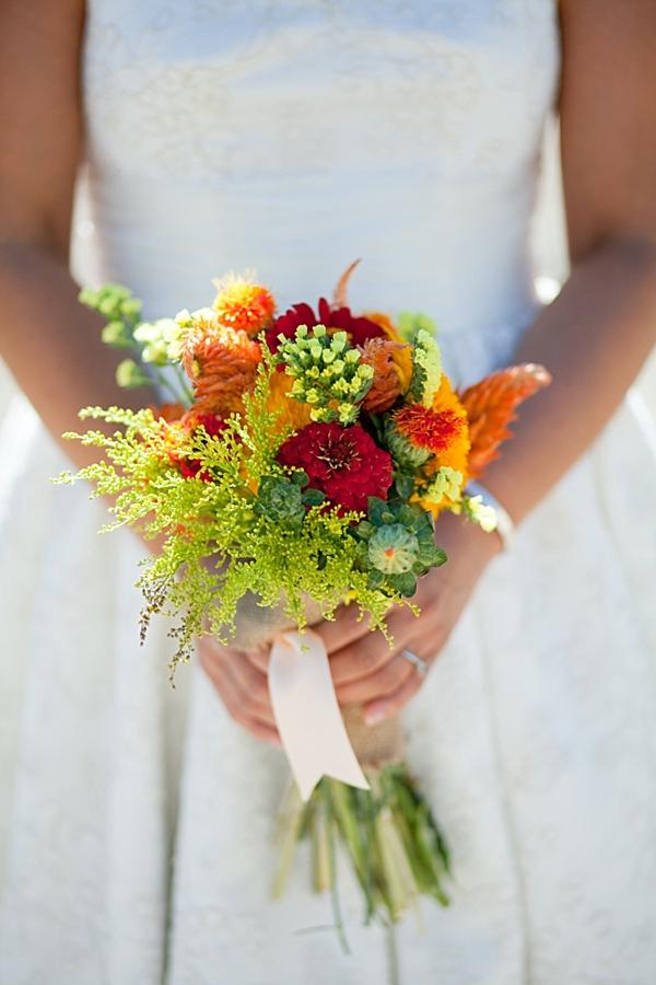 pretty orange and green rustic bouquet