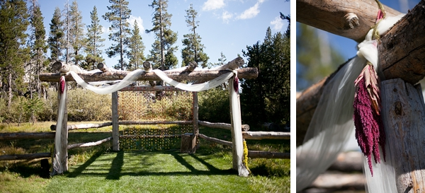 rustic wooden ceremony arch in Kirkwood