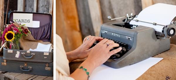 vintage typewriter and vintage luggage card box